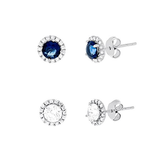 MIA SARINE Simulated Blue Sapphire and Clear Cubic Zirconia Halo Stud Gift Earrings for Women 2 pc Set in Rhodium Plated Brass