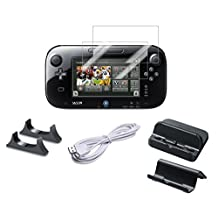 pegly Usb Charger Kit with Stand for Nintendo Wii U Gamepad 5-in-1 Bundle Gamepad With Cradle, Charger, Screen Protector and Usb Charger 10 ft