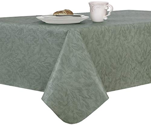 EVERYDAY LUXURIES Sonoma Damask Print Flannel Backed Vinyl Tablecloth, 90-Inch Round, Sage (90 Inch Round Vinyl Flannel Backed Tablecloth)