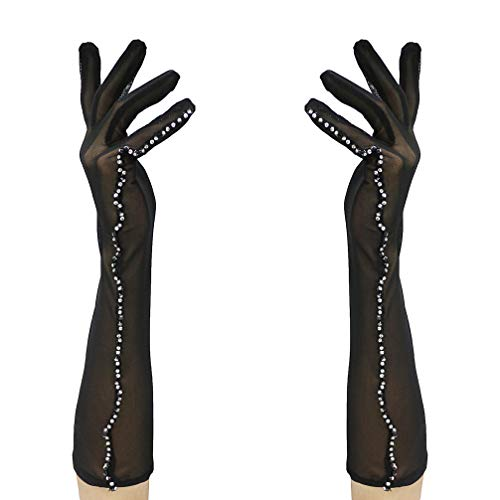 Luwint Women's Elegant Stretch Mesh Sheer Gloves, Perfect Lace Costume Accessories for Wedding Banquet Party Driving, Black (Nylon Sheer Gloves Black)
