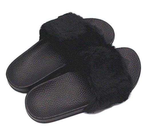 Minetom Herren Damen Winter Baumwolle Pantoffeln Soft Plüsch Wärme Weiche Hausschuhe Kuschelige Home Rutschfeste Slippers Nette Bärnhandschuhe F- Schwarz