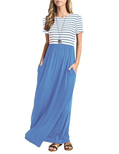 MEROKEETY Women's Summer Striped Sleeveless Crew Neck Long Maxi Dress Dress with Pockets ()
