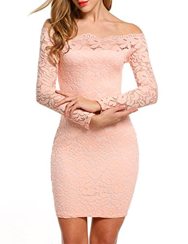 ACEVOG Women's Off Shoulder Lace Dress Long Sleeve Bodycon Casual Dresses (Medium, Pink)