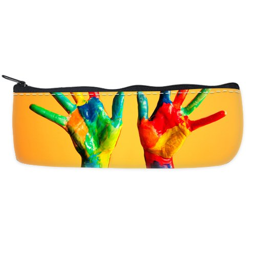 Colorful Handpaint Custom Art Printing Pencil Case Students Stationery Bags Pencil Holders Pen Bag