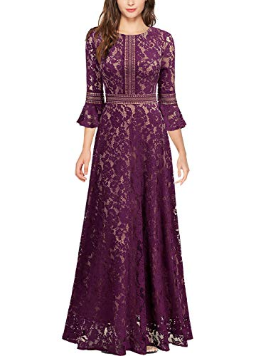 MISSMAY Women's Vintage Full Lace Contrast Bell Sleeve Formal Long Dress, Medium, Magenta