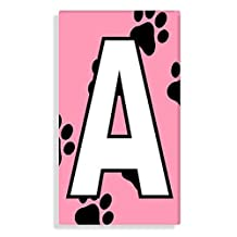 Dog - Cat Paw Prints With Pink Letter A Sticker For House Number / Mailbox / Trash Can / Wheelie Bin - Self Adhesive - Choose Number