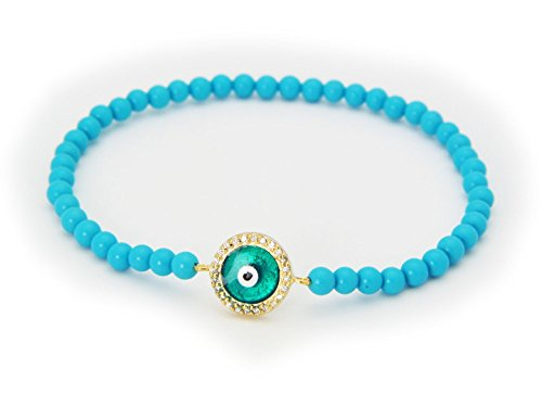 FRONAY Simulated Turquoise Evil Eye Elastic Bracelet 14k Gold Plated Sterling Silver