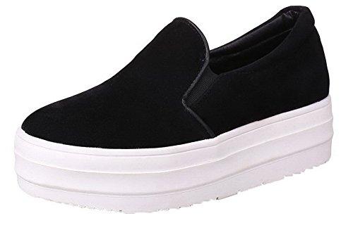 VogueZone009 Women's Kitten-Heels Xi Shi Velvet Pull-On Round Toe Court Shoes Black sYMpTJ60