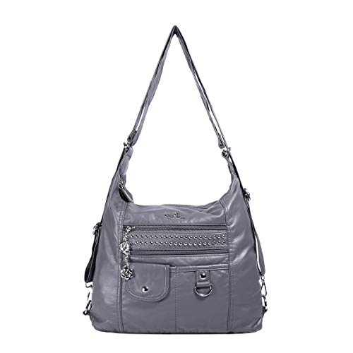 Angelkiss Womens Soft Leather Purses and Handbags Crossbody Bags Multifunctional Hobo Shoulder Bag Satchels for Women (XS160309-Grey)