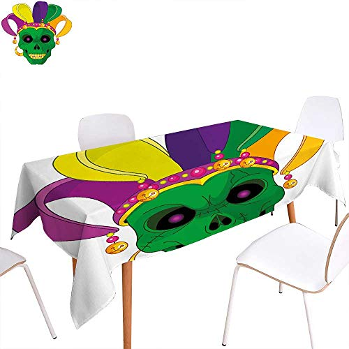 familytaste Mardi Gras Printed Tablecloth Scary Looking Green Skull Mask with Carnival Hat Beads and Earring Cartoon Style Rectangle Tablecloth 70