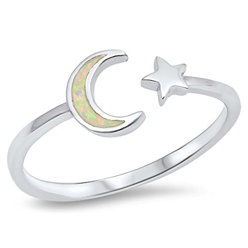 (Open Moon Star White Simulated Opal Cute Ring New .925 Sterling Silver Band Size)