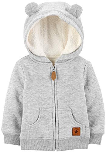 Simple Joys by Carter's Boys' Hooded Sweater Jacket with Sherpa Lining, Grey, 3-6 Months (Baby Clothes Boy)