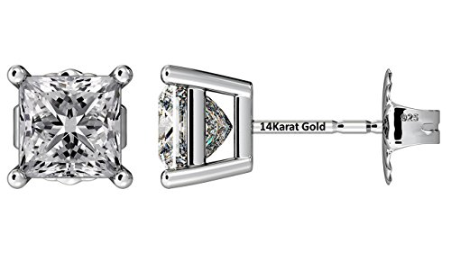 NANA Silver Princess CZ Stud Earrings with 14k Solid Gold Post-5.0mm-1.50cttw-Platinum Plated (Brilliant Square Ring Cut)