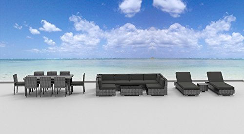 Urban Furnishing.net - 19 Piece Outdoor Dining and Sofa Sectional Patio Furniture Set