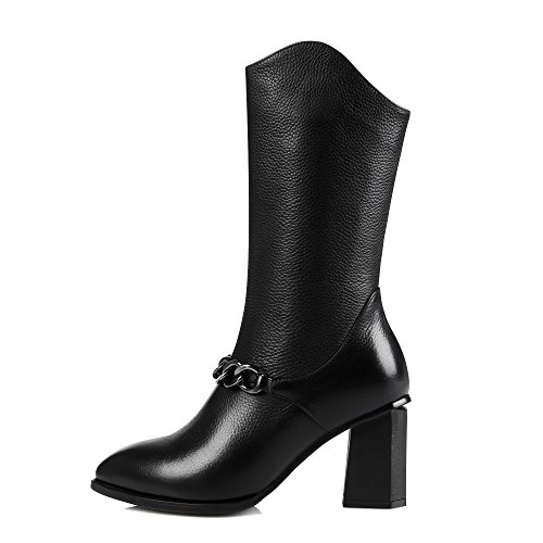 Genuine Women Mid Black Boots Black leather Sexy Block Ladies Zip Pointed toe heel calf boots Px61O0Xqwn