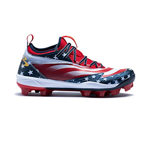 8ed8049aa81 Boombah Men's Commander Flag Molded Cleats Navy/Red/White - Size 12