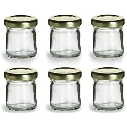 Nakpunar 6 pcs, 1.5 oz Mini Glass Jars for Jam, Honey, Wedding Favors, Shower Favors