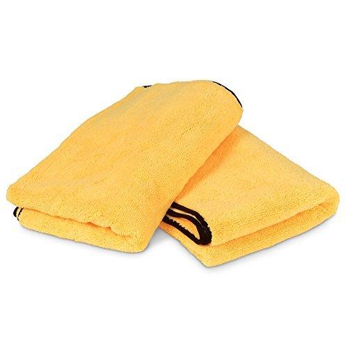 Liquid X Professional Grade Premium Microfiber Drying Towel XXL : Gold w/ Black Silk Edges 25'' x 36'' (2 Pack)