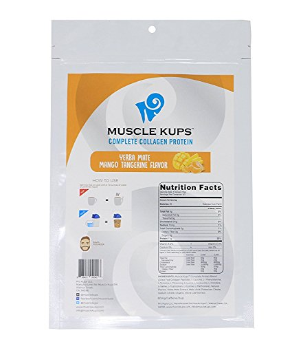 Muscle Kups Complete Protein Drink with Caffeine and Grass Fed Collagen Peptides for Added Health Support and Energy, 30 Servings, Yerba Mango Tangerine