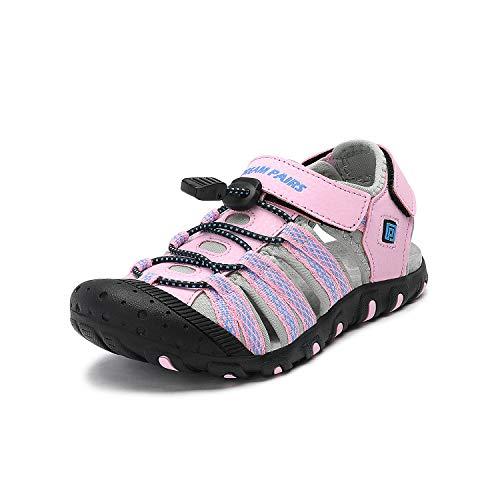 DREAM PAIRS Boys Girls Big Kid 171111-K Pink Grey Blue Outdoor Summer Sandals Size 6 M US Big Kid
