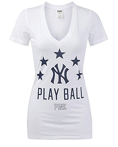 Victoria's Secret PINK New York Yankees V-Neck T-shirt Medium White