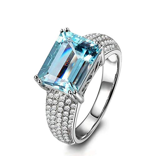 (Adisaer Ladies Engagement Ring 925 Sterling Silver Plated Solitaire WH 8X10Mm Square Blue Topaz Ring Size 10.5)