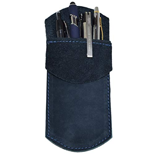 Durable Leather Pocket Protector/Pencil Pouch/Office & Work Essentials Pen Holder :: Blue Suede