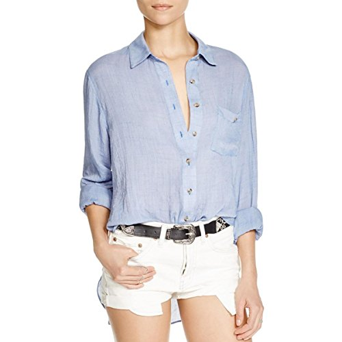 Free People Womens Sheer Long Sleeves Button-Down Top Blue XS