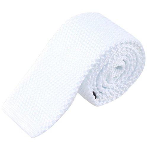 Siviki Fashion Men Knit Knitted Tie Necktie Neck Narrow Casual Slim Skinny Woven (White) by Siviki (Image #1)