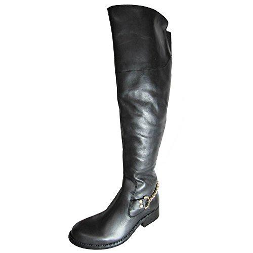 Steve Madden Women's Olgga Motorcycle Boot,Black/Gold,8 M US