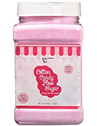 The Candery Cotton Candy Floss Sugar Strawberry Flavor- Reusable Plastic Jars - Easy Pour and Scoop Spout - 48oz 3LB