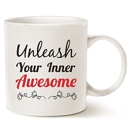 MAUAG Funny Inspirational Mug Christmas Gifts - Unleash Inner Awesome Funny Quote Ceramic Coffee Cup White, 14 Oz