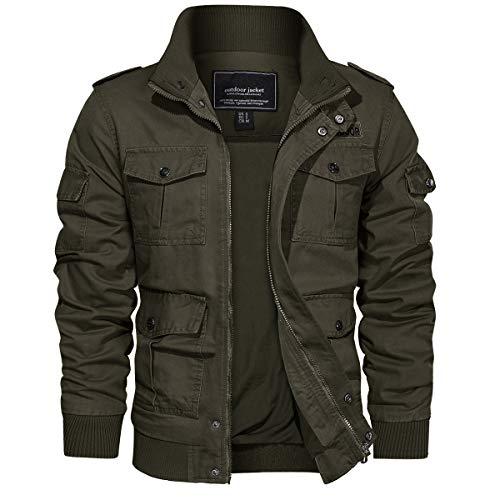 EKLENTSON Men's Casual Cotton Military Bomber Jacket Winter Outerwear Windbreaker Cargo Jacket Multi Pockets