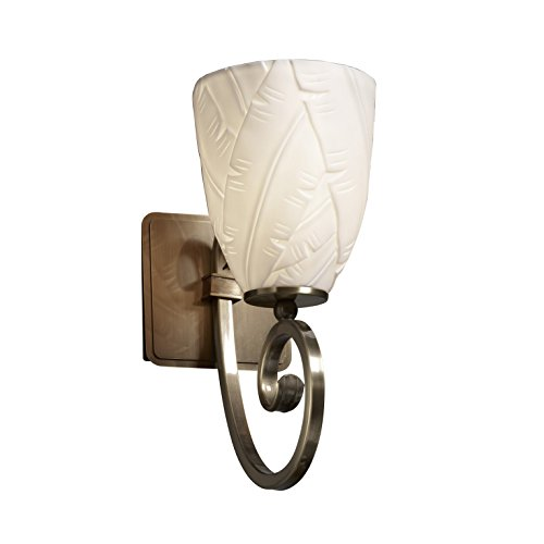 Porcelain Brass Sconce (Justice Design Group Limoges 1-Light Wall Sconce - Antique Brass Finish with Banana Leaf Translucent Porcelain Shade)
