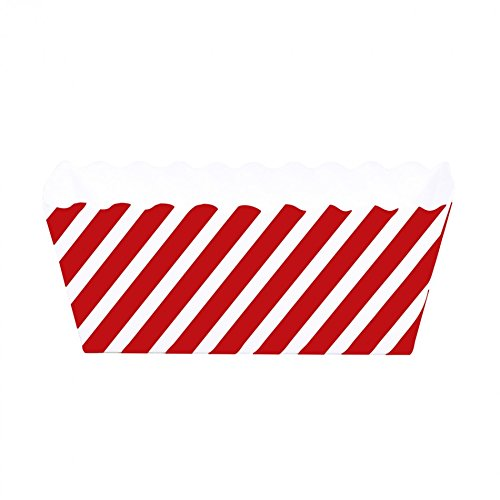 Dress My Cupcake Striped Rectangle Loaf Pan Favor Box (Set of 6), Red (Mini Loaf Pan Paper compare prices)