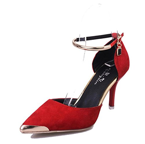 Price comparison product image Girllike Women's Elegant Slingback Ankle Strap Buckle Pointed Toe Stiletto Metal Heel and Pumps Shoes Attractive Design (7.5 B(M) US Women/CN 38, red)