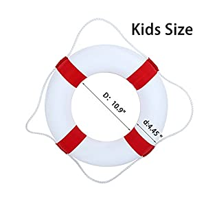 Foam Swim Rings - Swimming Pool Life Ring Buoy with Perimeter Rope (Red)