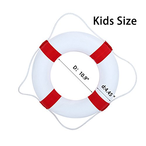 Foam Swim Rings - Swimming Pool Life Ring Buoy with Perimeter Rope (Red) by F&U (Image #6)