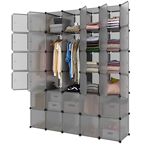 LANGRIA 30-Cube Storage Organizer Large Gray DIY Stackable Easy Assemble Plastic Steel Frame Decorative Modular Clutter-Free Closet Yarn Stash Wardrobe for Homes, Living Rooms, and Gardens from LANGRIA