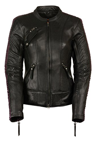 Milwaukee Leather Women's Embossed Phoenix Jacket (Black/Purple, Large)