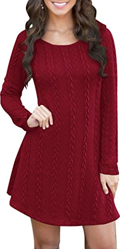 Women Winter Soft Slim Fit Knitted Crew Neck Long Sleeve Tunics Pullover Sweater Sweat Dress Red M