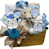 Eli or Ellie The Elephant Baby Gift Basket, Choice of Blue Boys or Pink Girls
