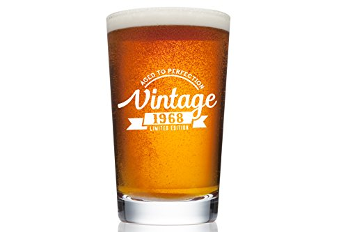 1968 50th Birthday Beer Pint Glass for Men or Women - Vintage Aged To Perfection Party Decorations – Funny Anniversary Gift Idea for Him, Her, Mom, Dad Husband or Wife – 16 oz Craft IPA Bar Mug by Gelid
