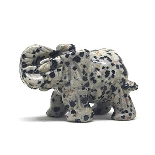 Stone Elephant Figurine (Nelson Creations Dalmatian Jasper Elephant Gemstone Animal Carving Charm Totem Figurine | 1.5
