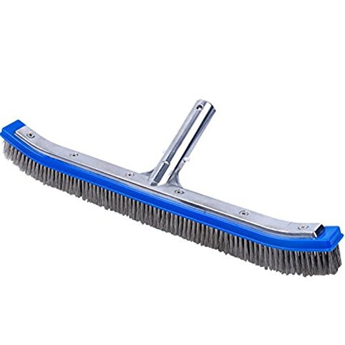 Laza 18 Inch Die-Cast Aluminum-Back Algae Brush with Stainless Steel Bristles for Concrete and Gunite Pools, Walkways, Walls, Tiles and (Classic Pool Tile)