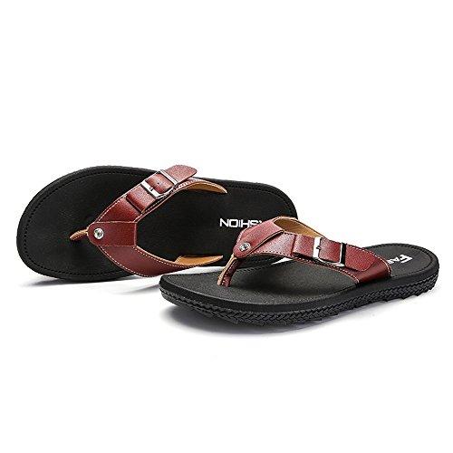 45 Slipper con Flop da taglia Color 44EU Brown Mens fino Size Flip Juan alla moda in uomo Brown bottoni shoes metallo Sandali britannica Scarpe wqpYnP8U