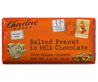 Chocolove Chocolate Bar, Salted Peanut in Milk Chocolate, 3.2 Ounce (Pack of 12)