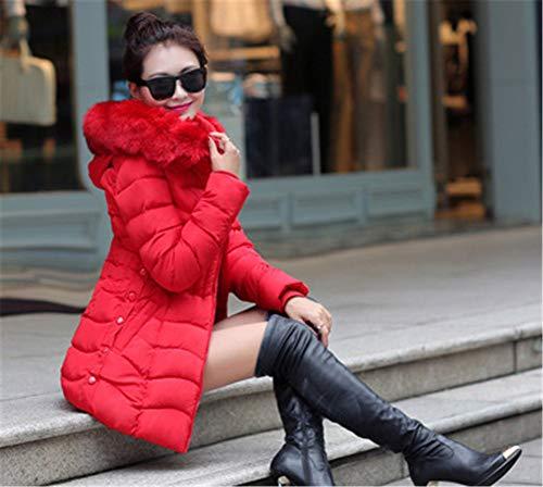Épaissi À Hiver Longues Rouge Doudoune Capuche Fourrure D'hiver Faux Élégant Veste Manches Missmao Femme Manteau fUPRzq