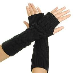 Eforcase Women Lady Girl Knitted Crochet Long Soft gloves Winter Warmer Braided Arm Fingerless Gloves Stretchy Wamer Knitting Thumb Hole Gloves Mittens Winter Hand Warmer Great gift for Xmas (Black)