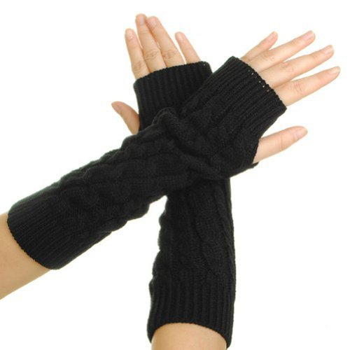 Eforcase Women Lady Girl Knitted Crochet Long Soft gloves Winter Warmer Braided Arm Fingerless Gloves Stretchy Wamer Knitting Thumb Hole Gloves Mittens Winter Hand Warmer Great gift for Xmas (Black)